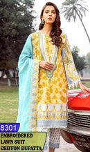 Load image into Gallery viewer, WYJB-8301 - NECK EMBROIDERED DESIGNER 3PC LAWN SUIT WITH CHIFFON DUPATTA - SUMMER COLLECTION 2020 / 2021