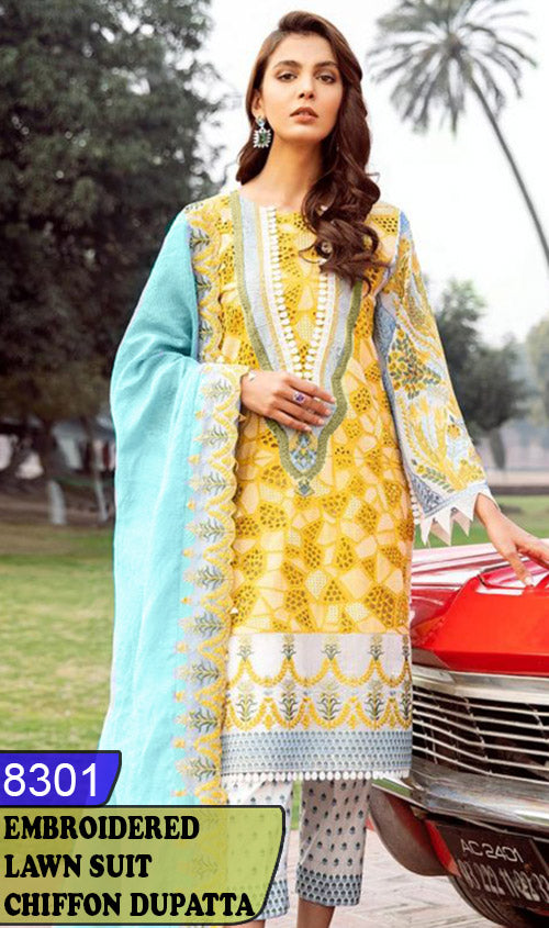 WYJB-8301 - NECK EMBROIDERED DESIGNER 3PC LAWN SUIT WITH CHIFFON DUPATTA - SUMMER COLLECTION 2020 / 2021