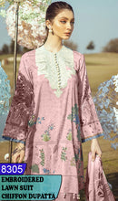 Load image into Gallery viewer, WYJB-8305 - NECK EMBROIDERED DESIGNER 3PC LAWN SUIT WITH CHIFFON DUPATTA - SUMMER COLLECTION 2020 / 2021