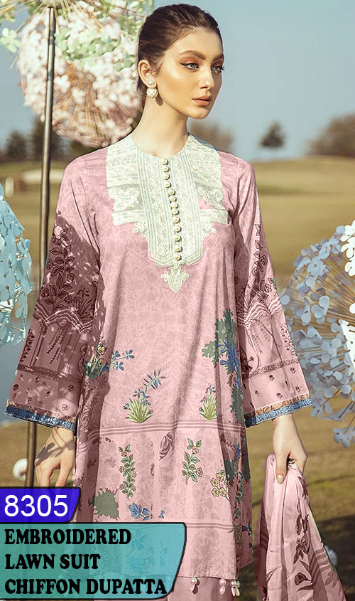 WYJB-8305 - NECK EMBROIDERED DESIGNER 3PC LAWN SUIT WITH CHIFFON DUPATTA - SUMMER COLLECTION 2020 / 2021