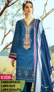 WYJB-8306 - NECK EMBROIDERED DESIGNER 3PC LAWN SUIT WITH LAWN DUPATTA - SUMMER COLLECTION 2020 / 2021