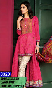 WYJB-8320 - FRONT EMBROIDERED DESIGNER 3PC LAWN SUIT WITH CHIFFON DUPATTA - SUMMER COLLECTION 2020 / 2021