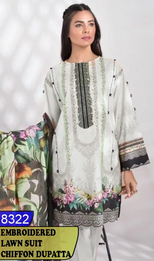 WYJB-8322 - NECK EMBROIDERED DESIGNER 3PC LAWN SUIT WITH CHIFFON DUPATTA - SUMMER COLLECTION 2020 / 2021