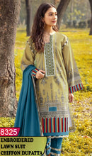 Load image into Gallery viewer, WYJB-8325 - NECK EMBROIDERED DESIGNER 3PC LAWN SUIT WITH CHIFFON DUPATTA - SUMMER COLLECTION 2020 / 2021