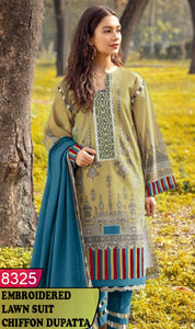WYJB-8325 - NECK EMBROIDERED DESIGNER 3PC LAWN SUIT WITH CHIFFON DUPATTA - SUMMER COLLECTION 2020 / 2021