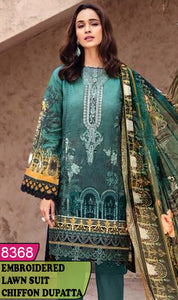 WYJB-8368 - NECK EMBROIDERED DESIGNER 3PC LAWN SUIT WITH CHIFFON DUPATTA - SUMMER COLLECTION 2020 / 2021