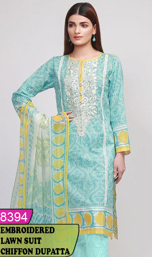 WYJB-8394 - NECK EMBROIDERED DESIGNER 3PC LAWN SUIT WITH CHIFFON DUPATTA - SUMMER COLLECTION 2020 / 2021