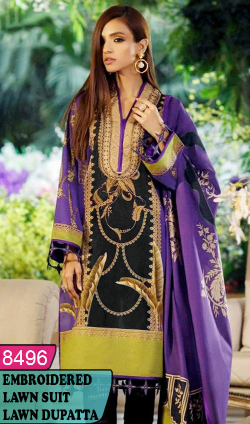 WYJB-8496 - NECK EMBROIDERED DESIGNER 3PC LAWN SUIT WITH LAWN DUPATTA - SUMMER COLLECTION 2020 / 2021