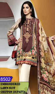 WYJB-8502 - NECK EMBROIDERED DESIGNER 3PC LAWN SUIT WITH CHIFFON DUPATTA - SUMMER COLLECTION 2020 / 2021