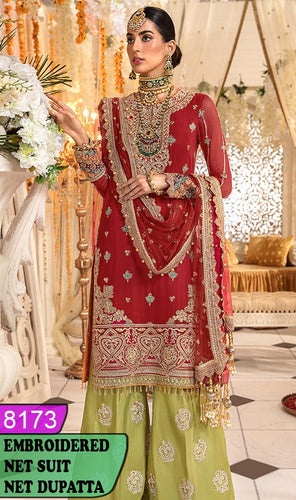 WYRM-8173 - HEAVY HANDWORKED FULL EMBROIDERED DESIGNER 3PC NET SUIT WITH NET DUPATTA - PARTY WEAR DRESS 2020 / 2021