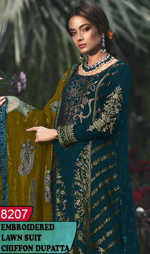 WYRM-8207 - NECK EMBROIDERED DESIGNER 3PC LAWN SUIT WITH CHIFFON DUPATTA - SUMMER COLLECTION 2020 / 2021