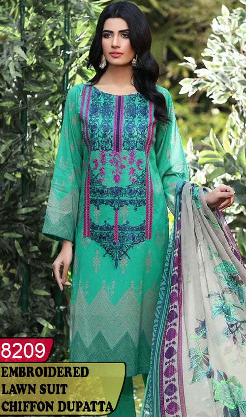 WYRM-8209 - NECK EMBROIDERED DESIGNER 3PC LAWN SUIT WITH CHIFFON DUPATTA - SUMMER COLLECTION 2020 / 2021
