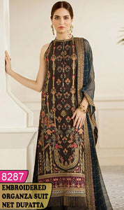 WYRM-8287 - HEAVY HANDWORKED FULL EMBROIDERED DESIGNER 3PC ORGANZA SUIT WITH NET DUPATTA - PARTY WEAR DRESS 2020 / 2021