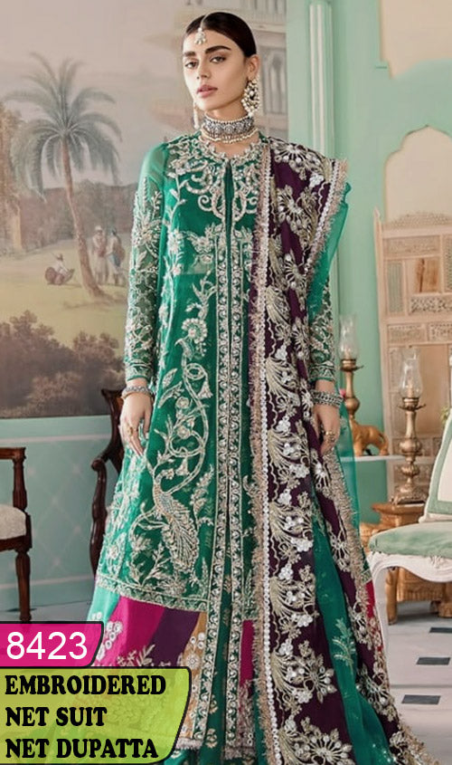 WYRM-8423 - HEAVY HANDWORKED FULL EMBROIDERED DESIGNER 3PC NET SUIT WITH NET DUPATTA - PARTY WEAR DRESS 2020 / 2021