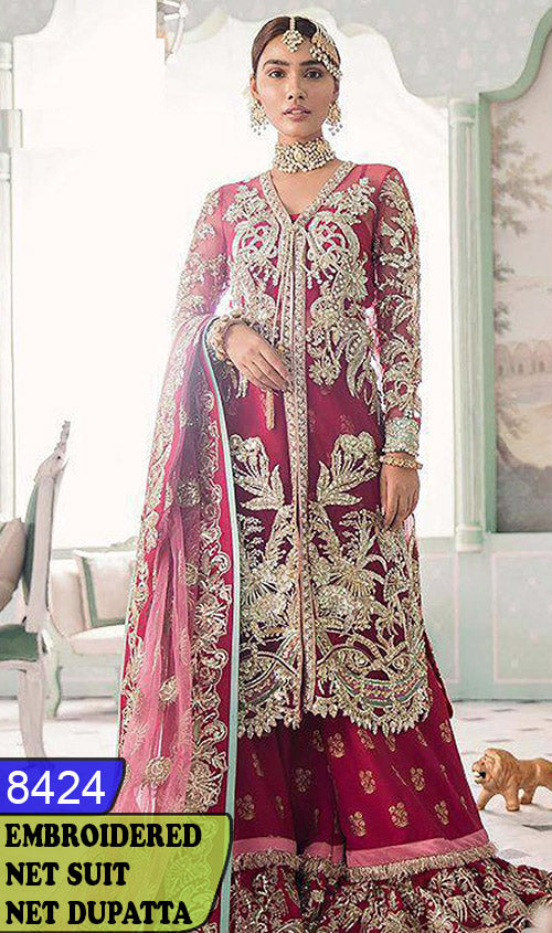 WYRM-8424 - HEAVY HANDWORKED FULL EMBROIDERED DESIGNER 3PC NET SUIT WITH NET DUPATTA - PARTY WEAR DRESS 2020 / 2021