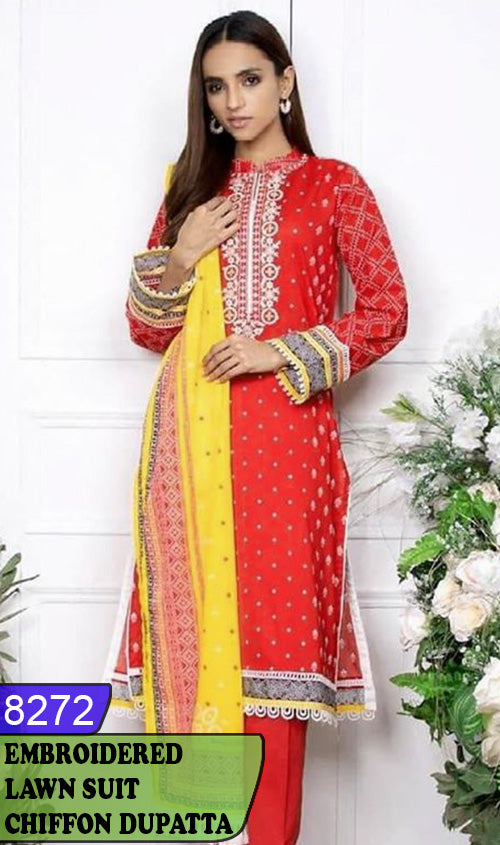 WYSK-8272 - NECK EMBROIDERED DESIGNER 3PC LAWN SUIT WITH CHIFFON DUPATTA - SUMMER COLLECTION 2020 / 2021
