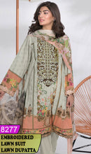 Load image into Gallery viewer, WYSK-8277 - NECK EMBROIDERED DESIGNER 3PC LAWN SUIT WITH LAWN DUPATTA - SUMMER COLLECTION 2020 / 2021