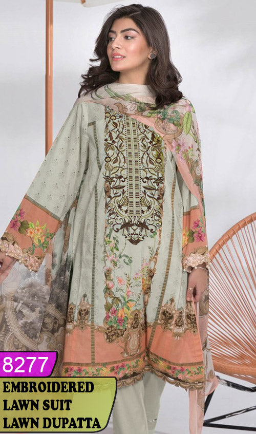 WYSK-8277 - NECK EMBROIDERED DESIGNER 3PC LAWN SUIT WITH LAWN DUPATTA - SUMMER COLLECTION 2020 / 2021