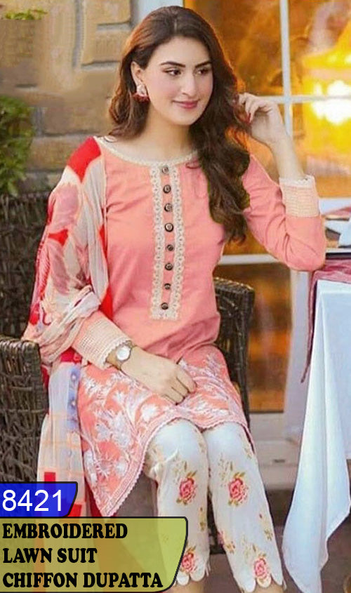 WYSK-8421 - NECK EMBROIDERED DESIGNER 3PC LAWN SUIT WITH CHIFFON DUPATTA - SUMMER COLLECTION 2020 / 2021