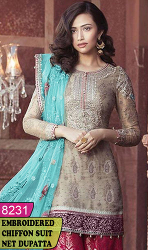 WYYS-8231 - FULL EMBROIDERED DESIGNER 3PC CHIFFON SUIT WITH NET DUPATTA - PARTY WEAR DRESS 2020/2021