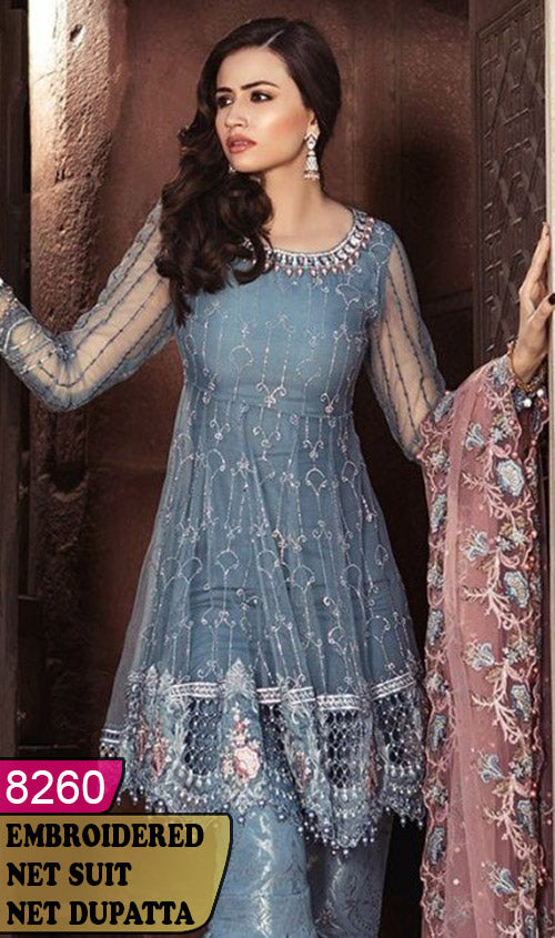 WYYS-8260 - FULL EMBROIDERED DESIGNER 3PC NET SUIT WITH NET DUPATTA - PARTY WEAR DRESS 2020/2021