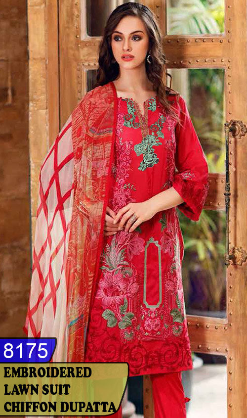 WYZA-8175 - NECK EMBROIDERED DESIGNER 3PC LAWN SUIT WITH CHIFFON DUPATTA - SUMMER COLLECTION 2020/2021