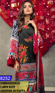 WYZA-8252 - FRONT EMBROIDERED DESIGNER 3PC LAWN SUIT WITH CHIFFON DUPATTA - SUMMER COLLECTION 2020/2021
