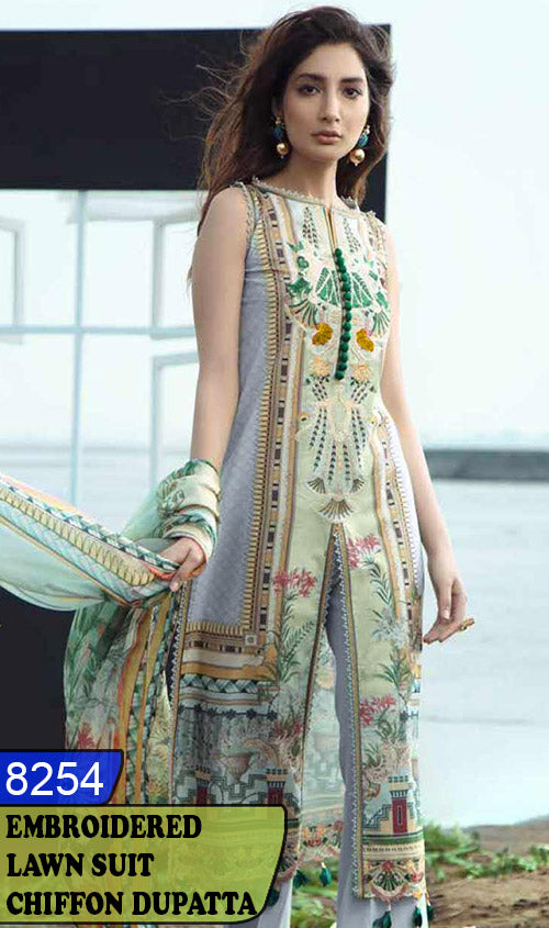 WYZA-8254 - NECK EMBROIDERED DESIGNER 3PC LAWN SUIT WITH CHIFFON DUPATTA - SUMMER COLLECTION 2020/2021