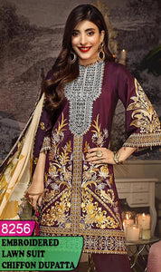WYZA-8256 - NECK EMBROIDERED DESIGNER 3PC LAWN SUIT WITH CHIFFON DUPATTA - SUMMER COLLECTION 2020/2021