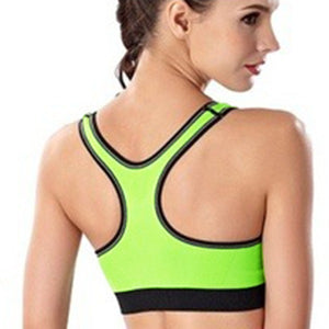 WASB-0049 - GREEN -FRONTZIP - SPORTS BRA IMPORTED - STRETCHABLE MATERIAL