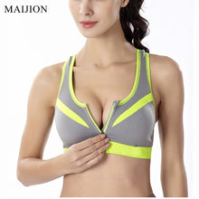 Load image into Gallery viewer, WASB-0046 - GREY-FRONTZIP - SPORTS BRA IMPORTED - STRETCHABLE MATERIAL - DOUBLE LAYERS