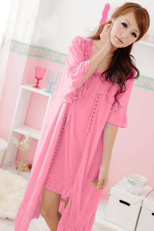 WANT-0013 - Light-Pink-2 PCS NIGHTY IMPORTED SATIN MATERIAL WITH INNER-GOWN