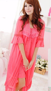 WANT-0014 - DARK-PINK - 2 PCS NIGHTY IMPORTED SATIN MATERIAL WITH INNER-GOWN