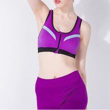 Load image into Gallery viewer, WASB-0048 - MAGENTA -FRONTZIP - SPORTS BRA IMPORTED - STRETCHABLE MATERIAL