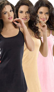 PACK-OF-3-LADIES-VEST-1 - PACK OF 3 LADIES VEST / SLIP / CAMISOLE (SKIN-BLACK-PINK)