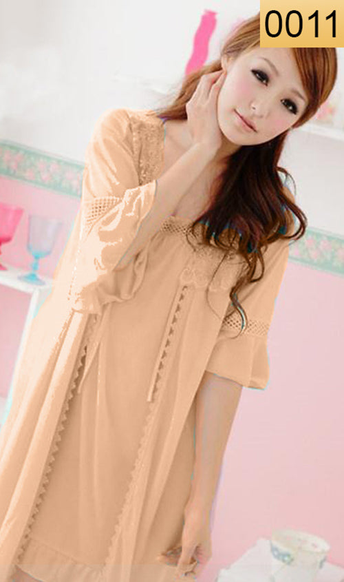 WANT-0011 - 3PCS NIGHTY IMPORTED SATIN MATERIAL WITH INNER-GOWN