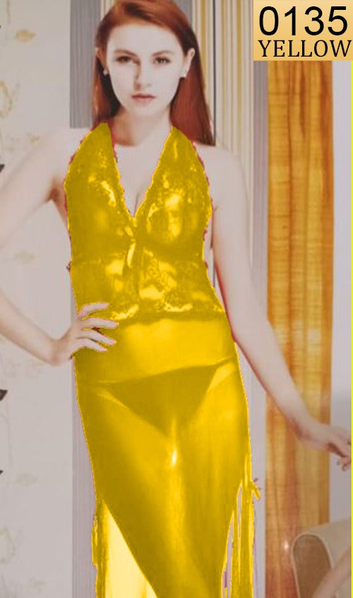 WANT-0135 - 1008-YELLOW - SLEEVELESS NIGHTY IMPORTED NET MATERIAL