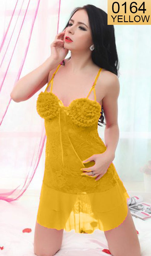 WANT-0164 - 8016-YELLOW - SLEEVELESS SHORT NIGHTY IMPORTED NET MATERIAL