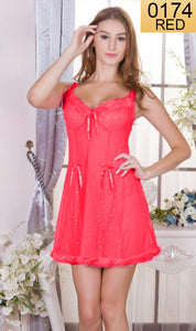 WANT-0174 - 210-RED - SLEEVELESS SHORT NIGHTY IMPORTED NET MATERIAL