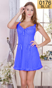 WANT-0176 - 210-BLUE - SLEEVELESS SHORT NIGHTY IMPORTED NET MATERIAL
