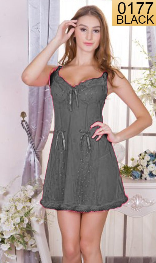 WANT-0177 - 210-BLACK - SLEEVELESS SHORT NIGHTY IMPORTED NET MATERIAL