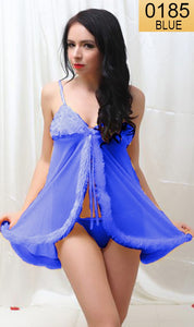 WANT-0185 - 709-BLUE - SLEEVELESS SHORT NIGHTY IMPORTED NET MATERIAL