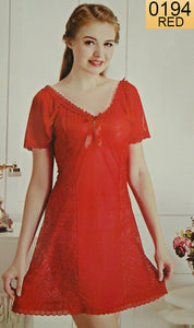 WANT-0194 - 1191-RED - SLEEVELESS SHORT NIGHTY IMPORTED NET MATERIAL