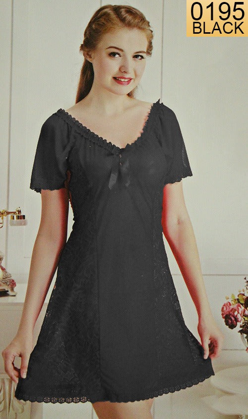 WANT-0195 - 1191-BLACK - SLEEVELESS SHORT NIGHTY IMPORTED NET MATERIAL