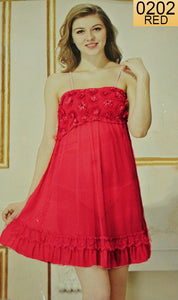 WANT-0202 - 1143-RED - SLEEVELESS SHORT NIGHTY IMPORTED NET MATERIAL