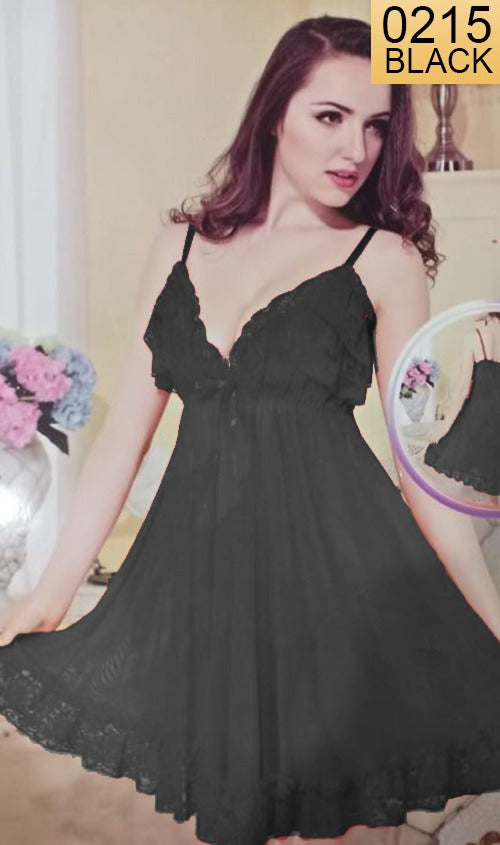 WANT-0215 - 1123-BLACK - SLEEVELESS SHORT NIGHTY IMPORTED NET MATERIAL