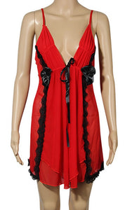 WANT-0217 - 8100-RED - SLEEVELESS SHORT NIGHTY IMPORTED NET MATERIAL