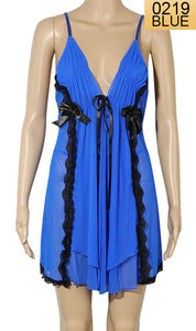 WANT-0219 - 8100-BLUE - SLEEVELESS SHORT NIGHTY IMPORTED NET MATERIAL
