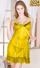 Load image into Gallery viewer, WANT-0224 - 8230-YELLOW - SLEEVELESS SHORT NIGHTY IMPORTED NET MATERIAL