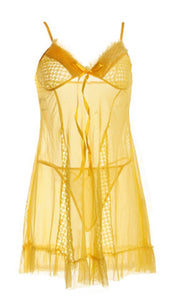 WANT-0224 - 8230-YELLOW - SLEEVELESS SHORT NIGHTY IMPORTED NET MATERIAL